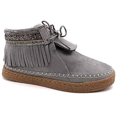 Angkorly Zapatillas Moda Botines Botas Mocasines Folk Mujer Fleco Fantasía Bordado Tacón Plano 2 cm: Amazon.es: Zapatos y complementos