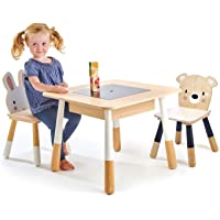 Tender Leaf Toys Forest Table and Chairs - Wooden Play Table with Childs Rabbit Chair and Childs Bear Chair