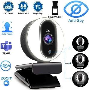 1080P Webcam with Ring Light, Privacy Cover and Dual Microphone, Advanced Auto-Focus, Adjustable Brightness, 2020 NexiGo Streaming Web Camera for Zoom Skype Facetime, PC Mac Laptop Desktop