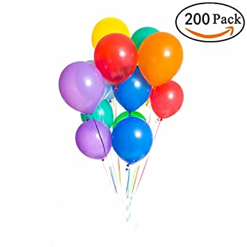 Amazon 200 pieces assorted colored balloons bulk 12 inches 200 pieces assorted colored balloons bulk 12 inches latex helium balloons for birthday party decorations junglespirit Image collections