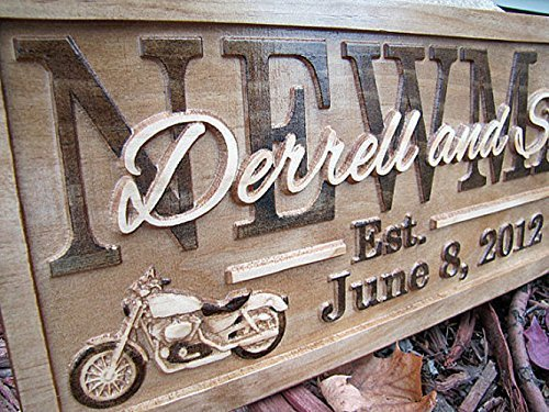 - Personalized Family Name Signs HARLEY davidson CARVED Custom Wood Sign Last name Rustic Wedding Gift Established Gift for Couple Boss personalized Motorcycle sign