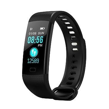 qhj Smart Watch Sport Fitness Actividad de frecuencia cardíaca Tracker Tensiómetro de reloj, Negro