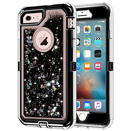 """iPhone 6S Case, iPhone 6 Case, Anuck 3 in 1 Hybrid Heavy Duty Defender Case Sparkly Floating Liquid Glitter Protective Hard Shell Shockproof TPU Cover for Apple iPhone 6 /iPhone 6S 4.7"""" - Black"""