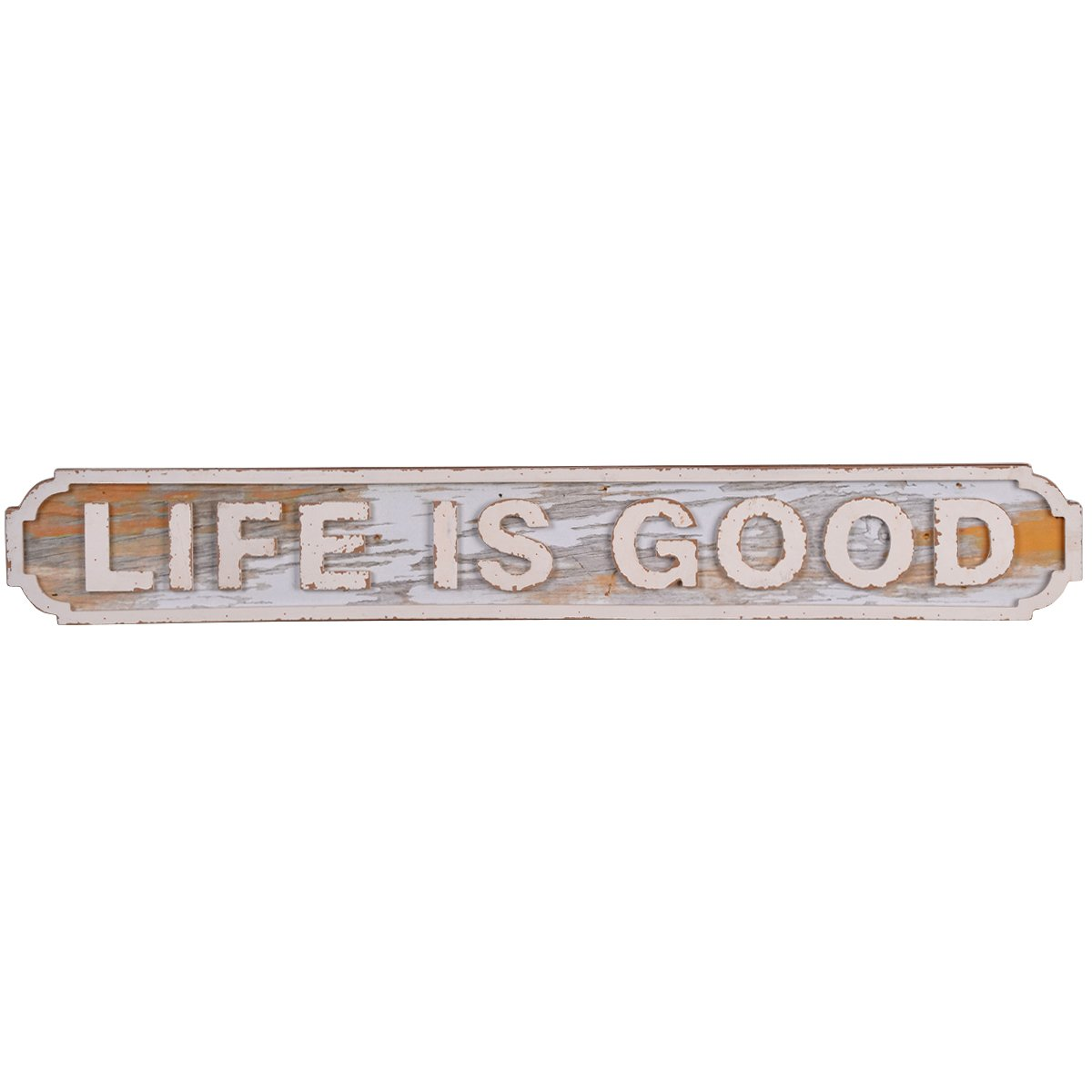 NIKKY HOME Life is Good Rustic Wooden Wall Decorative Sign 28.66 x 0.91 x 4.13 Inches, White