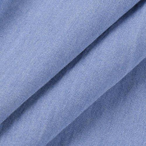 Alta T Corti Con Di Giacca Donna Camicia Manica Denim Tasche Retrò Da Estiva Estate Azzurro Corta Blu Vita Longra shirt 2018 A Autunnale Jeans 1wOq0X
