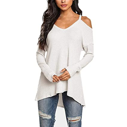 f6c5cb30a Amazon.com: Hermia Women's Casual Cold Shoulder Sweater Long Sleeve V-Neck  Tops Shirt Comfort (Color : White, Size : M): Home & Kitchen