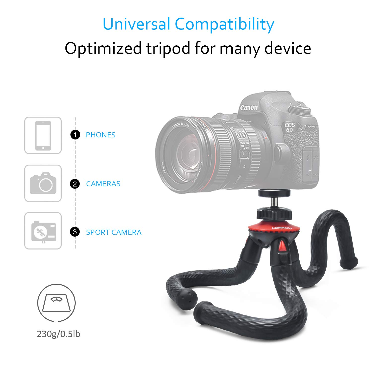 Flexible Camera Tripod Vlogging Bendable Travel Octopus Gorilla Portable Mini Tripods for DSLR Camera GoPro Smartphone Cell Phone Actioncam Webcam Camcorder Canon GX7 Nikon Sony Phone Xs Samsung Stand by Lammcou (Image #2)