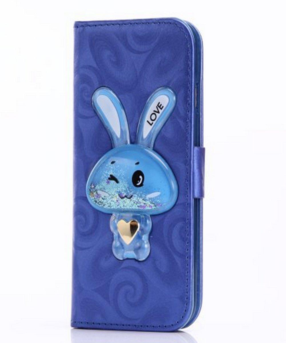 iPhoneケース、Auroralove Iphone Flowing Liquid財布型ケース3dキュートMoving Star Glitter Rabbit PUレザークレジットカードキックスタンドカバーfor iPhone iphone se/5/5s ブルー B06XRQ6GN3 ブルー iphone se/5/5s