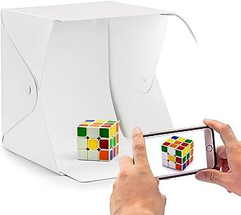 Caja de fotografía Caja de luz portátil 22 x 22 cm para hacer fotos a objetos de mini con dos fondos negro/ blanco: Amazon.es: Iluminación