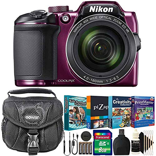 Nikon Coolpix B500 16MP 40x Zoom Digital Camera Plum with Photo Editing and Kids Scrapbooking Collection Software and More Accessories