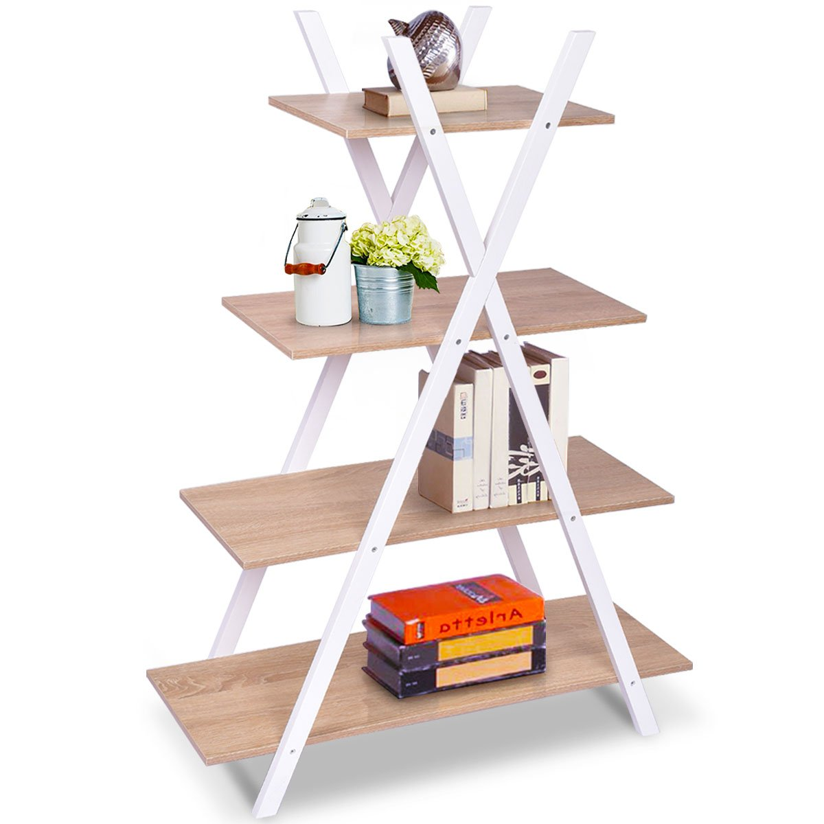 Giantex 4 Tier Bookshelf Storage Shelves Bookcase Ladder Shelf Home Office X-Shape Potted Plant or Flower Rack Display Shelves Easy Assembly Natutal and White, 31.5 LX13.0 WX42.9 H