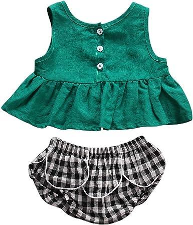 Ropa Bebe NiñA Verano NiñO ReciéN Nacido NiñO NiñA Camisa De La Camiseta Pantalones Cortos Traje Camisa Verde Punto De Onda Pantalones para NiñOs: Amazon.es: Ropa y accesorios