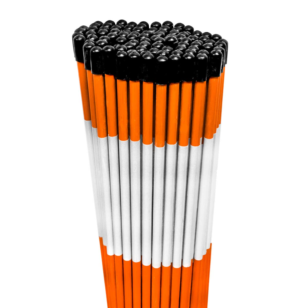 100PK 48'' Heavy Duty 5/16'' Diameter Hi Visibility Safety Orange Driveway Markers w/Reflective Tape - Rods Stakes Guides by Replaces Safety Orange Markers (Image #1)