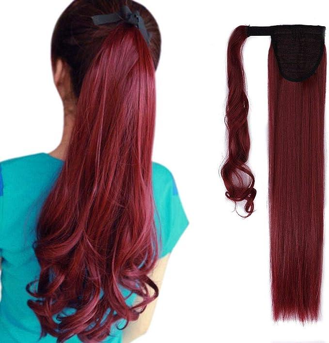 Extensión de cabello largo y recto con clip 23