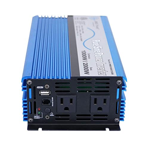 AIMS Power 1000 Watt Pure Sine Inverter 12 VDC to 120 VAC ETL Listed