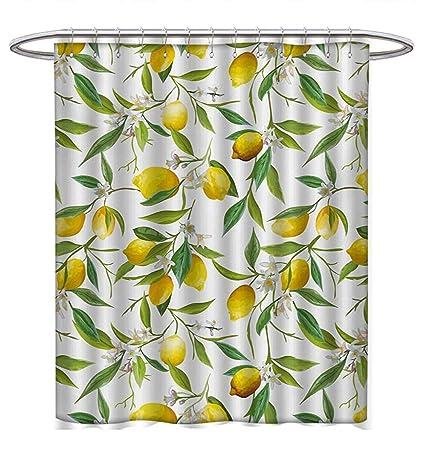 Nature Shower Curtain Lemon Woody Romantic Print for Bathroom