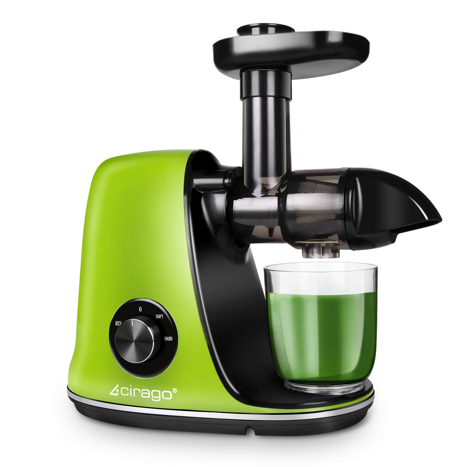 CIRAGO Juicer Machines, Slow Masticating Juicer Extractor Two Speed Adjustment, Easy to Clean, Quiet Motor, Cold Press Juicer for Vegetables and Fruits, BPA-Free by CIRAGO