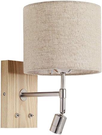 Giow Lámpara de pared Aplique interior de madera textil con 2 interruptores Bombillas E27 y foco