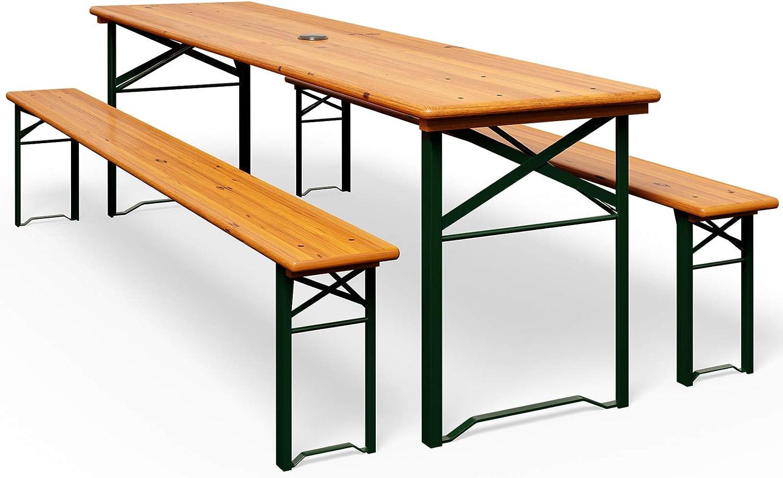 Deuba set de 1 mesa y 2 bancos de madera pino picea plegables mesa cervecera con agujero para sombrilla eventos jardín