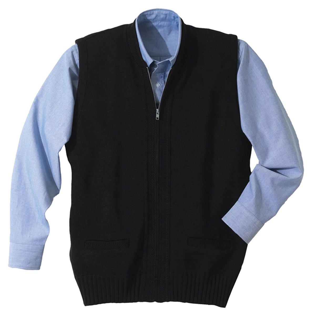 Edwards Garment Two Pockets Full Zip Sweater Vest, Navy, XXXX-Large by Edwards Garment
