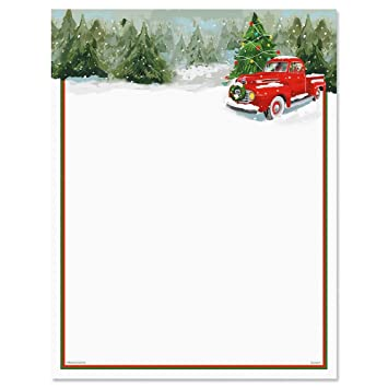 Christmas Stationery.Red Truck Christmas Letter Papers Set Of 25 Christmas Stationery Papers Are 8 1 2 X 11 Compatible Computer Paper