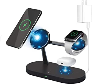 4 in 1 Magnetic Wireless Charger Compatible with MagSafe Charger Stand,Fast Wireless Charging Station with 20W QC3.0 Adapter for iPhone 12, Pro, Pro Max, Mini, iWatch 2-6/SE and AirPods 2/Pro