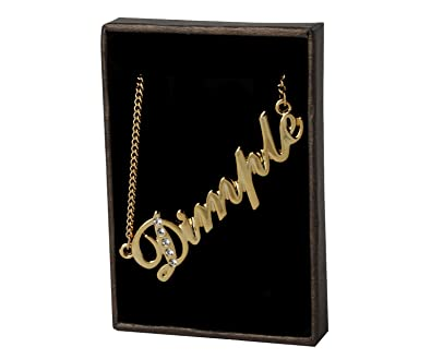 Indian Name Necklace Dimple - Gold Plated 18ct Personalised