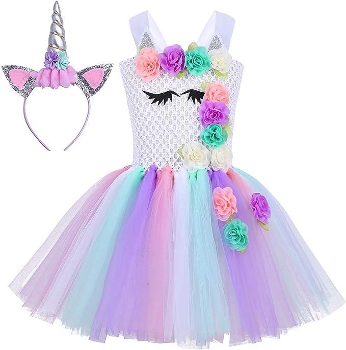 Agoky Disfraz de Princesa Unicornio para Niña Traje de Navidad ...