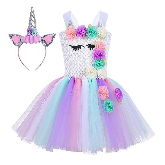 Agoky Disfraz de Princesa Unicornio para Niña Traje de Navidad Infantil Vestido Tutu de Flores con Argolla de Pelo para Fiesta Cumpleaños Cosplay ...