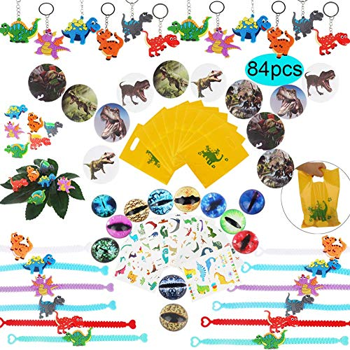 - Dinosaur Party Favors Supplies,Dinosaur Bracelet Ring Keychain Tattoo Pin Back Button Dinosaur Eye Gift Bag Toys Kit for Kids Boys Birthday Party Gift Goodie Bag Fillers(84 pcs/set)
