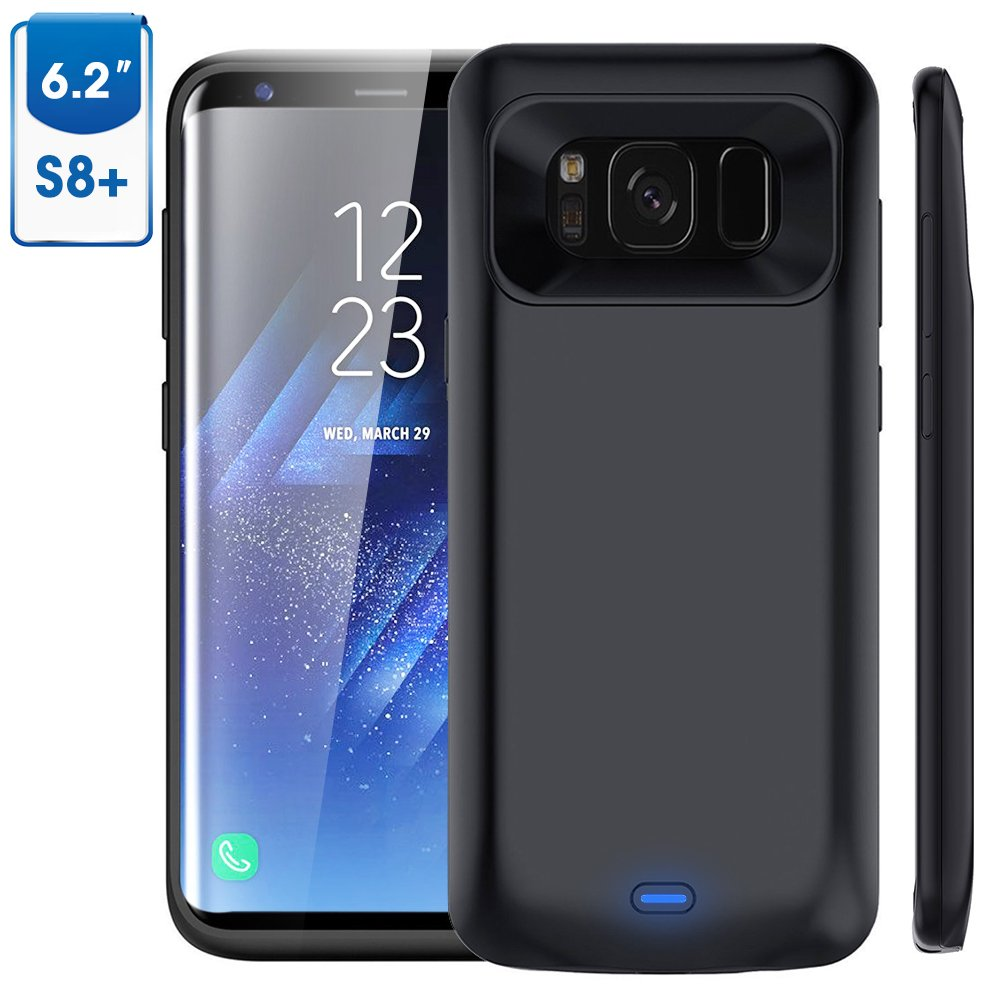Galaxy S8 Plus Battery Case, 5500mAh Vproof Rechargeable External Battery Portable Charger Protective Charging Case Power Bank Cover for Samsung Galaxy S8+ 6.2'' (Black)
