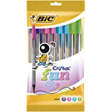 Bic Cristal Fun Stylo à bille - Couleurs assorties (Lot de 10)