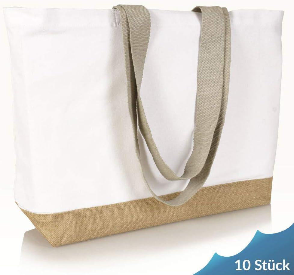 Jute statt Plastik Original CB220BXF graue Henkel Einkaufstasche Canvas Jutetasche Baumwollltasche Shopper Jutebeutel Stofftasche Shopping Einkauf Fair /& Nachhaltig