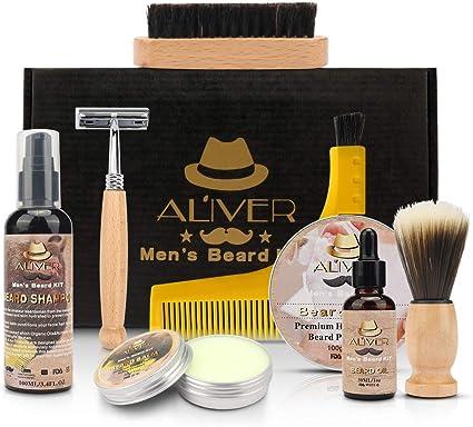 ALIVER - Kit de cuidado de la barba, aceite para barba, afeitadora ...