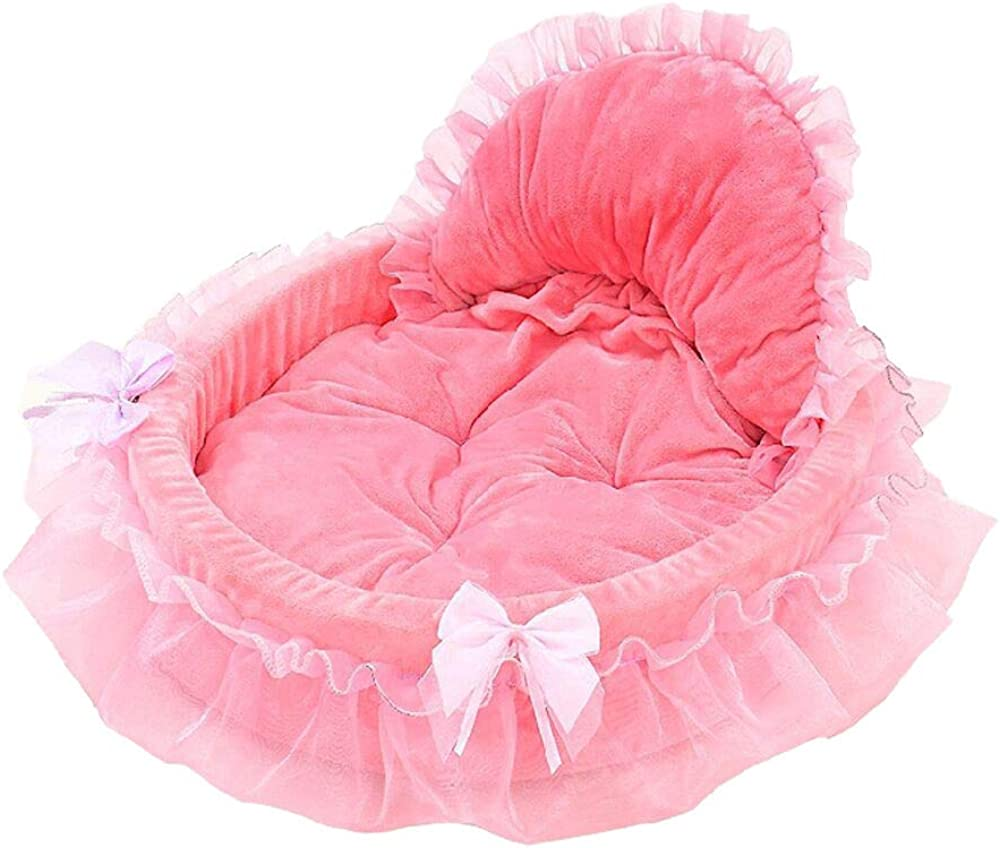 Islandse_pet Dog Puppy Princess Bows Lace Heart Elegant Lovely Bed Doghouse Pet Warm Bed