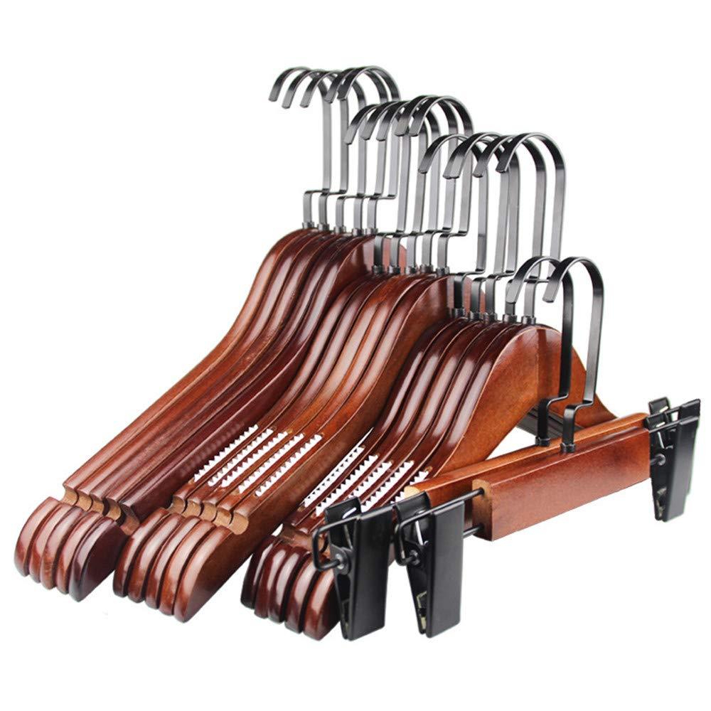 パンツラックハンガークリップ 木製のスカートコートハンガーセット、頑丈で丈夫なスーツパンツの服のハンガー、余分な滑らかなカットノッチ、20個 滑り止め (サイズ : 20pack) B07JH7C86G  20pack