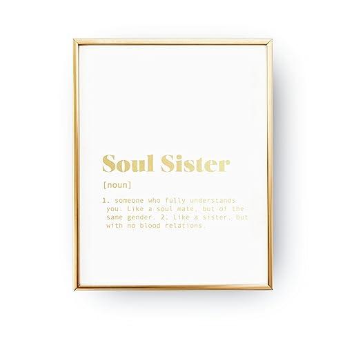 amazon com soul sister definition best friend gift real gold foil