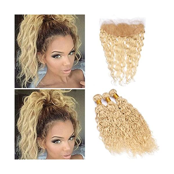Zara Hair Wet And Wavy Blonde Human Hair Bundles With Frontal