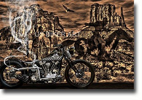 - Harley Davidson Knucklehead Ghostrider Western Skull Art Print
