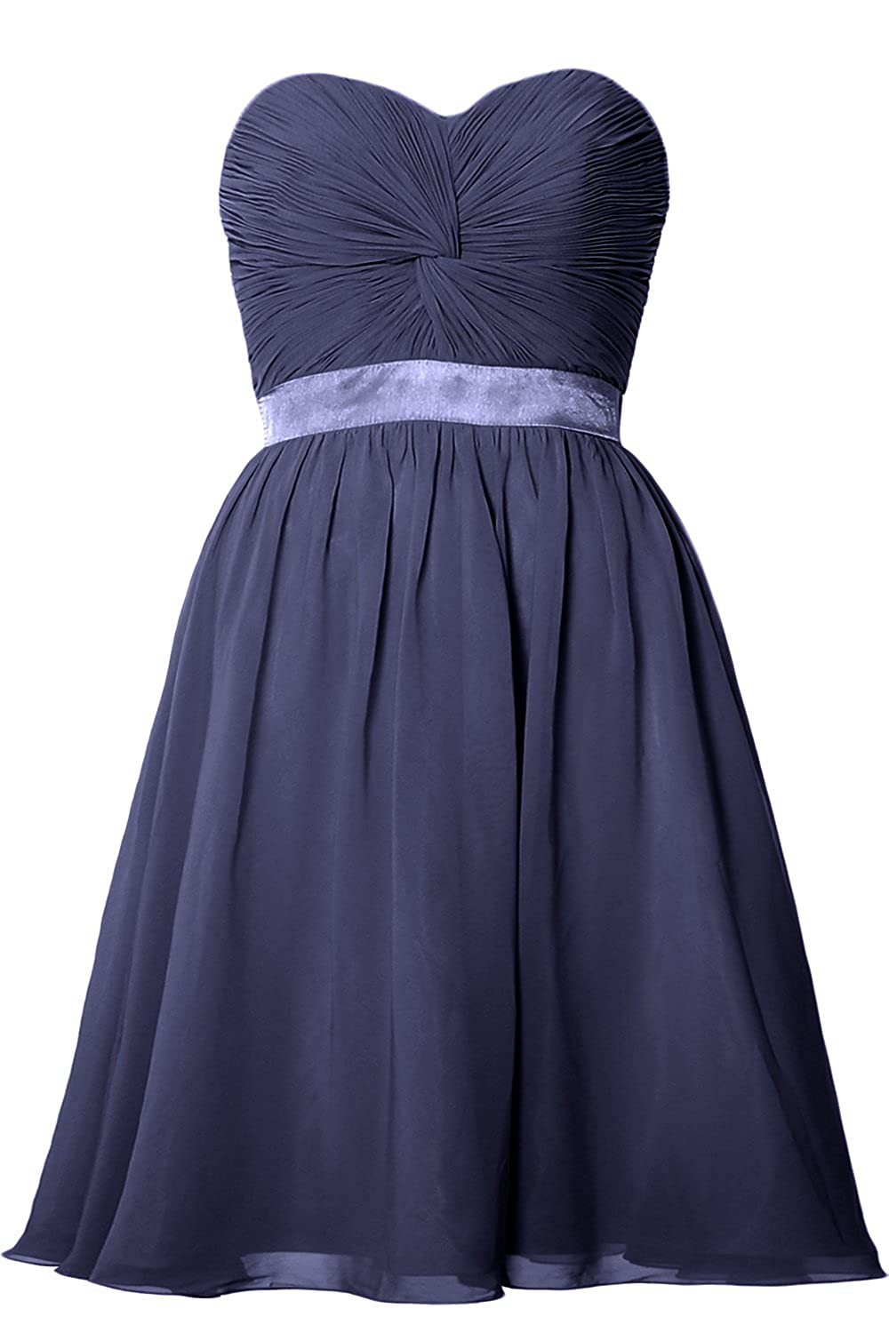 MACloth Women Strapless Lace-up Short Bridesmaid Dress Wedding Party Gown