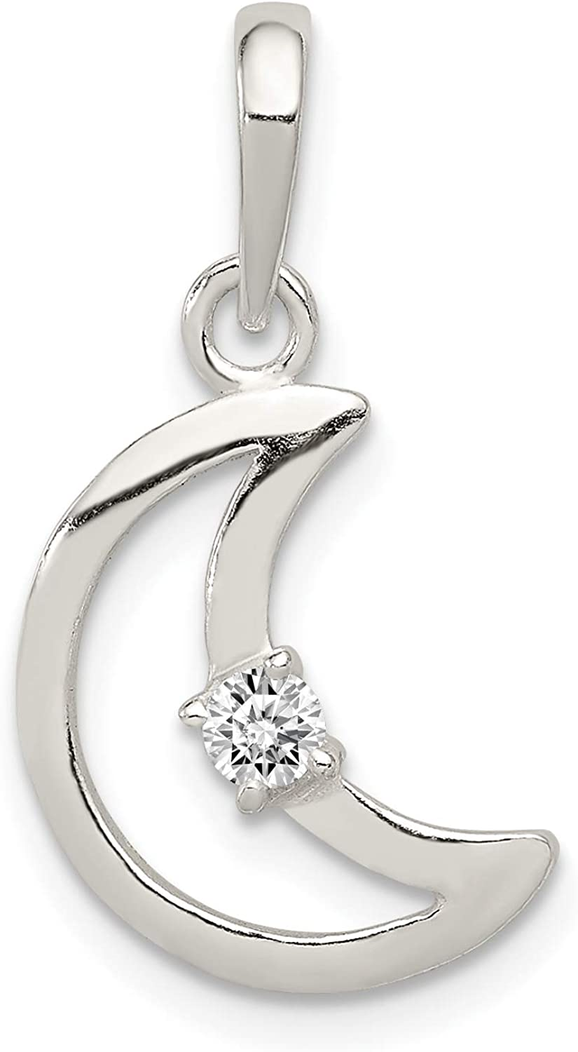 Sterling Silver CZ Polished Moon Pendant Solid 12 mm 25 mm Pendants /& Charms Jewelry