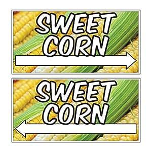 """Sweet maíz direccional–Set incluye incluso número de flechas izquierda y derecha–12""""x24""""–resistente a la intemperie plástico corrugado–a todo color–2estacas por"""