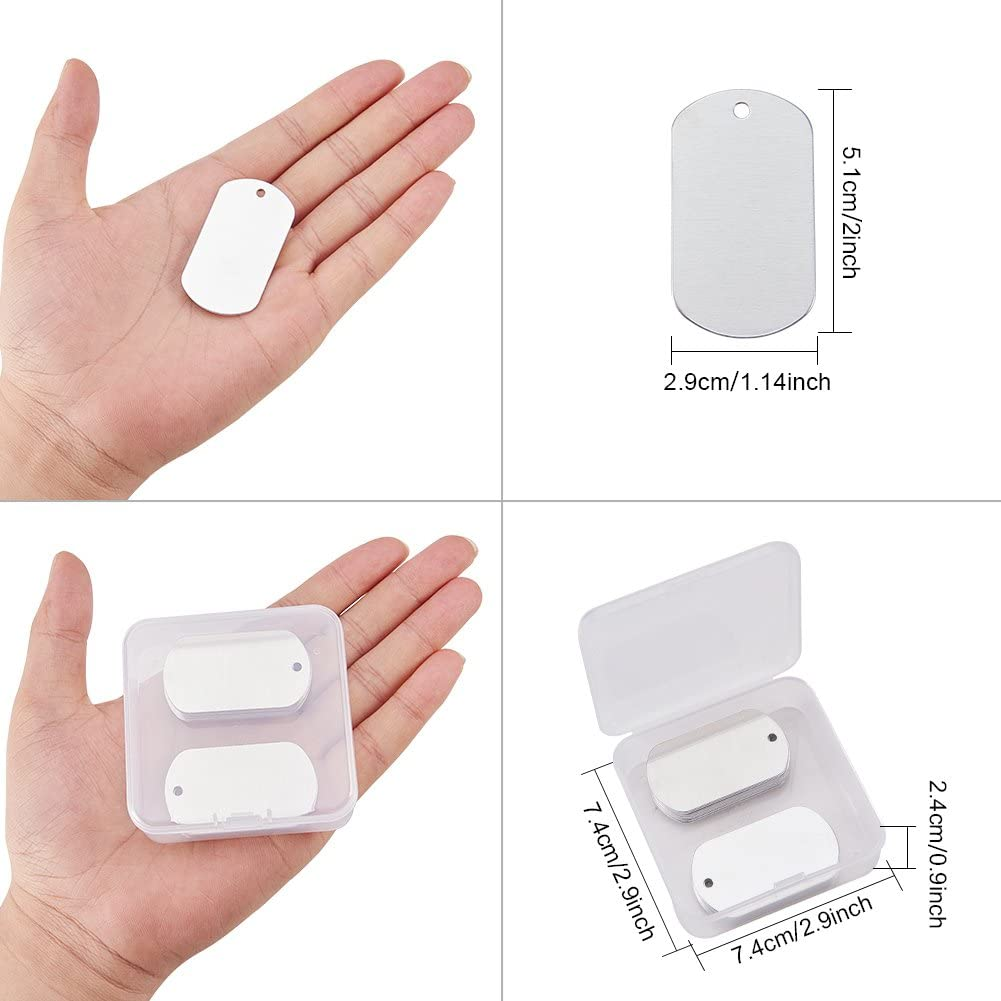 BENECREAT 30 Pack 2x1.14 Shield Shape Stamping Blanks Aluminum Blank Pendants with Snap Storage Case for Necklace Bracelet Jewelry Pendant Charms Dog Tags