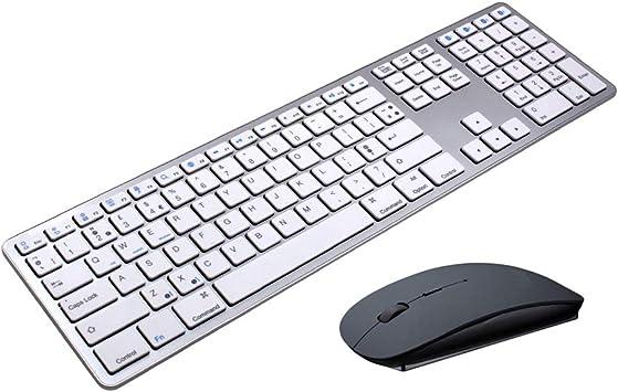 Teclado Bluetooth, ratón Bluetooth y teclado combinado, 2.4G ...