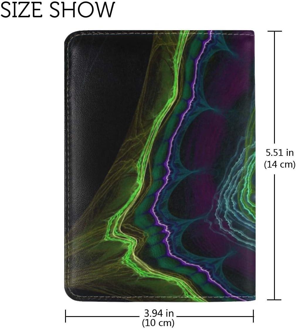 JiaoL Line Color Background Dark Leather Passport Holder Cover Case Travel One Pocket