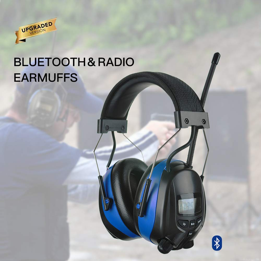 PROTEAR Bluetooth Noise Reduction Wireless Earmuffs AM FM Digital Radio with Rechargeable Lithium Battery, NRR 25dB Professional Ear Hearing Protection Electronic Headphones with a Carrying Case by PROTEAR (Image #7)