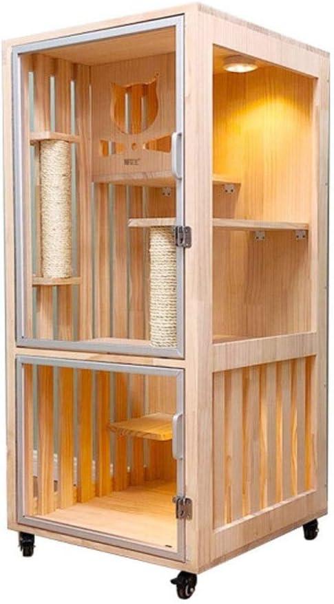 PNBHD 透明な木製の猫のケージ (サイズ : 60*60*123.5CM)