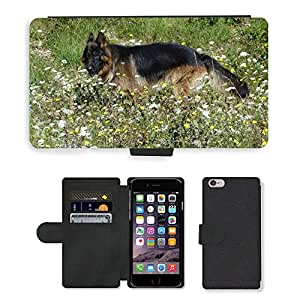 """Hot Style Cell Phone Card Slot PU Leather Wallet Case // M00115022 Animals Dogs German Shepherd Prairie // Apple iPhone 6 PLUS 5.5"""""""