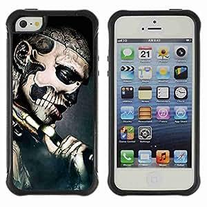 A-type Arte & diseño Anti-Slip Shockproof TPU Fundas Cover Cubre Case para Apple iPhone 5 / 5S ( Gothic Skull Tattoo )