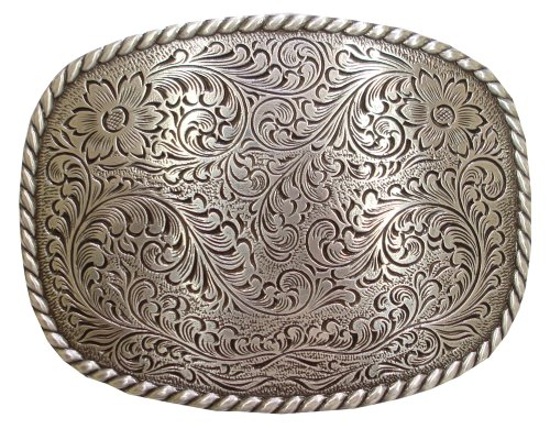 Antique Silver Floral with Rope Edge Western Belt ()